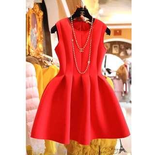 韓國製 紅色 禮服 洋裝 裙 連身裙 無袖 背心裙 晚會 伴娘 婚禮