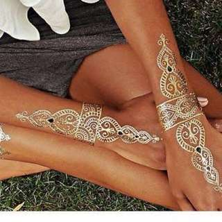 Gold Foil Tattoos Jewellery Mehendi Style Skin Hair Tattoo Metallic