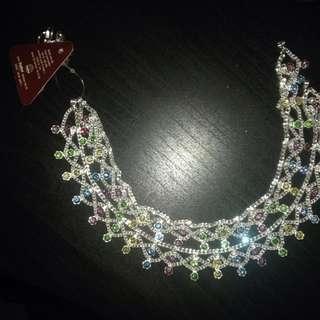 Anklets Indian Pair New Silver tone Multicolour Pastel Diamantes