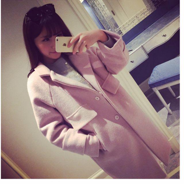 含運!!!【秋冬必備】雙排扣中長版大衣、內加厚棉(粉、藍2色)