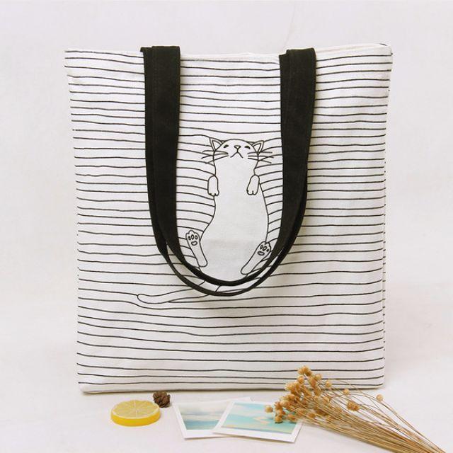 開學必備清新貓咪帆布袋