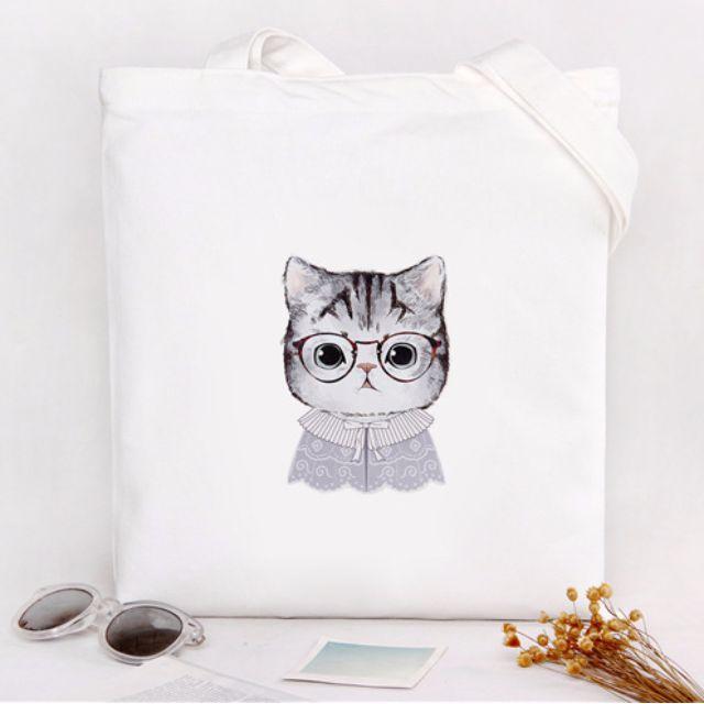 開學必備學院風眼鏡貓帆布袋