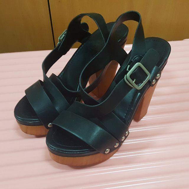 日式復古風-大地色澤前交叉厚底前高後高粗跟涼鞋