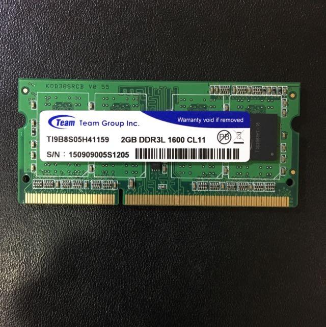 筆記型記憶體 Team DDR3L 1600 2G