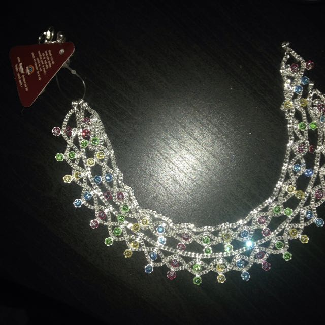 Anklets Indian Pair New Silver tone Multicolour Pastel Diamantes