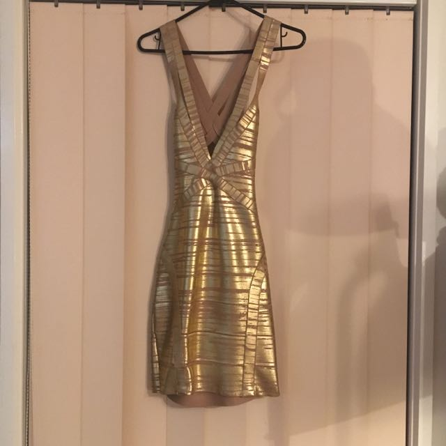bariano gold dress size 8-10