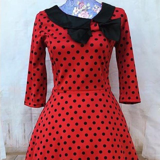 BNWOT Parisian-style Polka Dot Swing Dress M 10