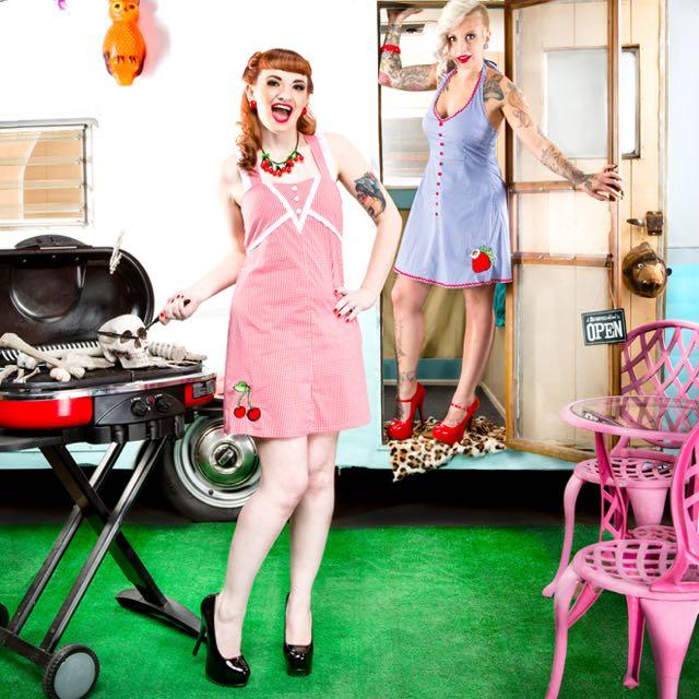 BNWT Sourpuss Clothing Gingham Cherry Dress Med.