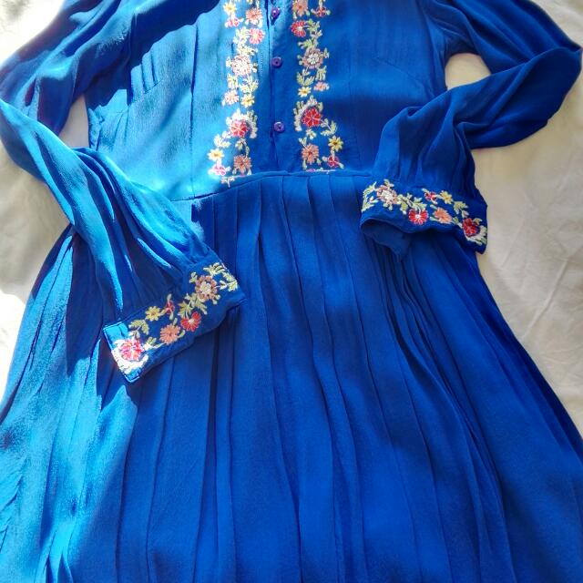 Boho Embroidered Long Sleeve Dress Size10