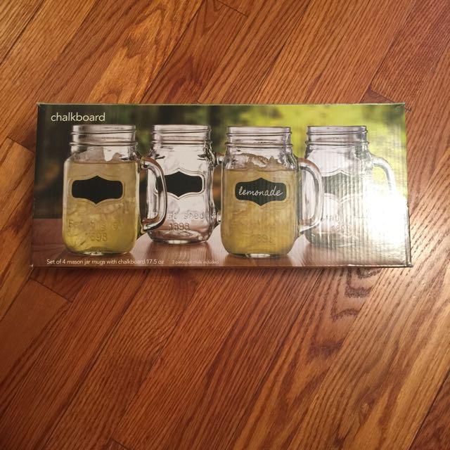 Chalkboard Mason Jar Mugs (Set Of 4)