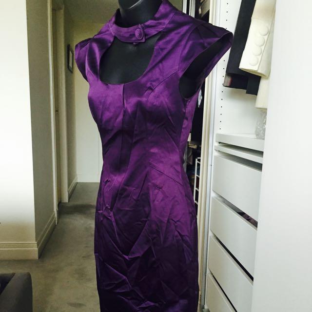Cue Deep Purple Silk Dress
