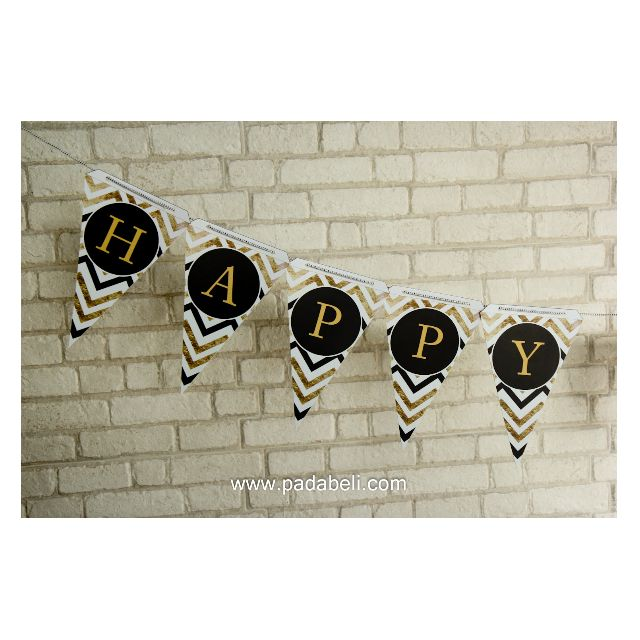 DECORATED BIRTHDAY FLAG ( Gold,Black,& White )