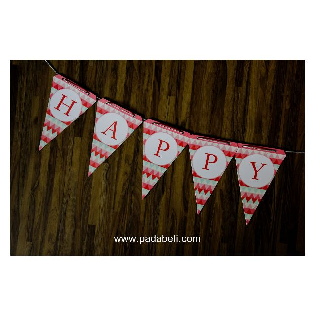 DECORATED BIRTHDAY FLAG ( Pink & White )