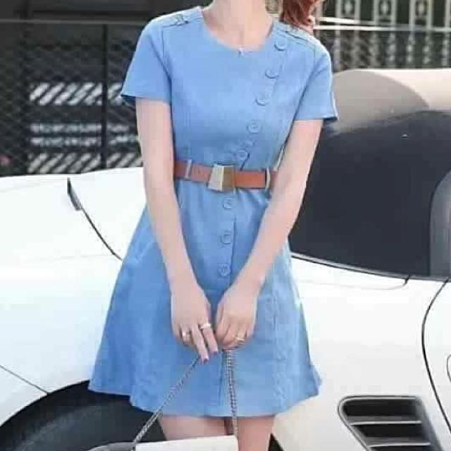 Denim Dress shortsleeve w/bottons closure