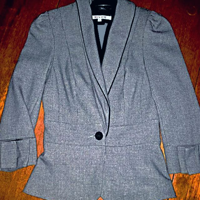 Fitted REVIEW Cropped Blazer With 3D Bow Sleeve