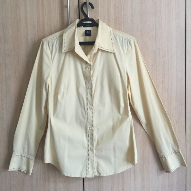 Gap Yellow Long Sleeves Button Down Top