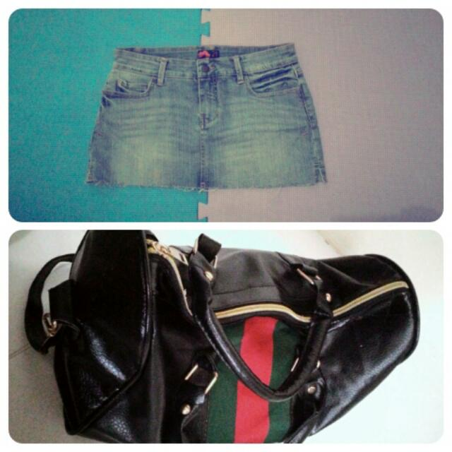 Get 2 Item Denim Skirt With 2in1 Bag