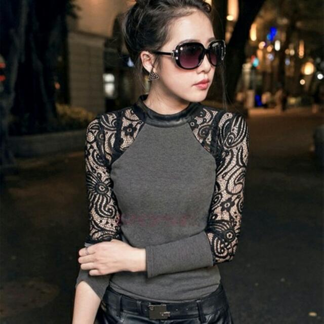 Grey Shirt w/ Black Lace Size S