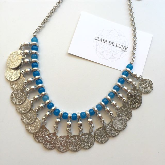 Gypsy Style Blue Coin Necklace