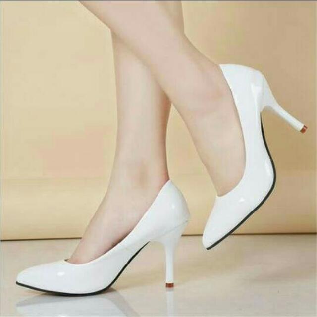 Hihh Heels 7cm Putih Polos