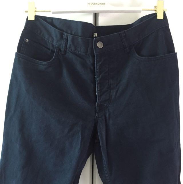 H&M Navy Blue Slim Trouser Pants