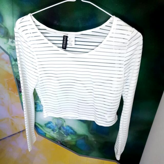 H&M see thru stripe crop top