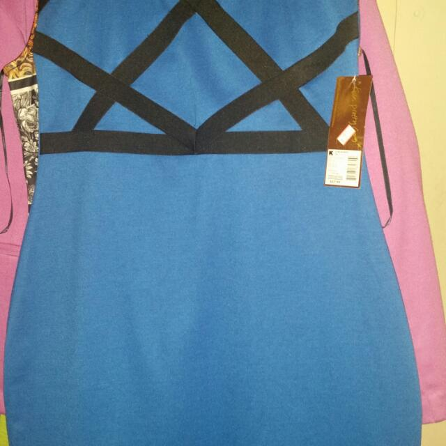 Nicki Minaj Royal Blue black Strapped Dress Size Large