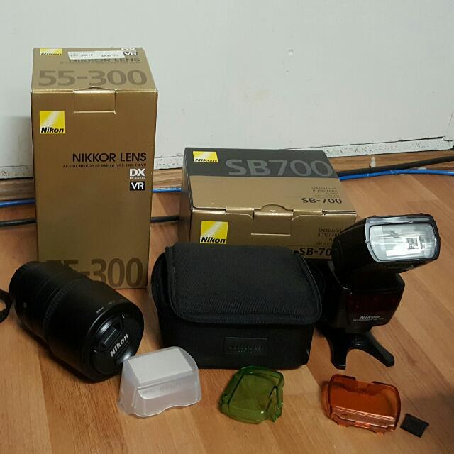 Nikon Lens (55-300) - Nikon Speed light  (Sb700)