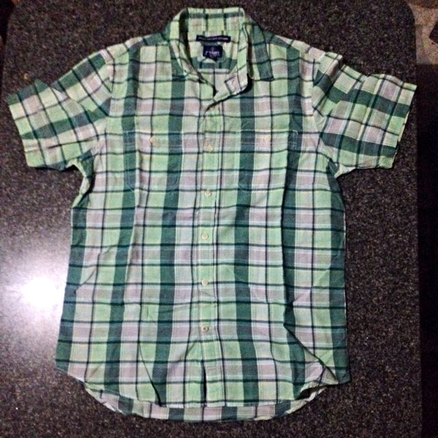 Old Navy Green Plaid Polo