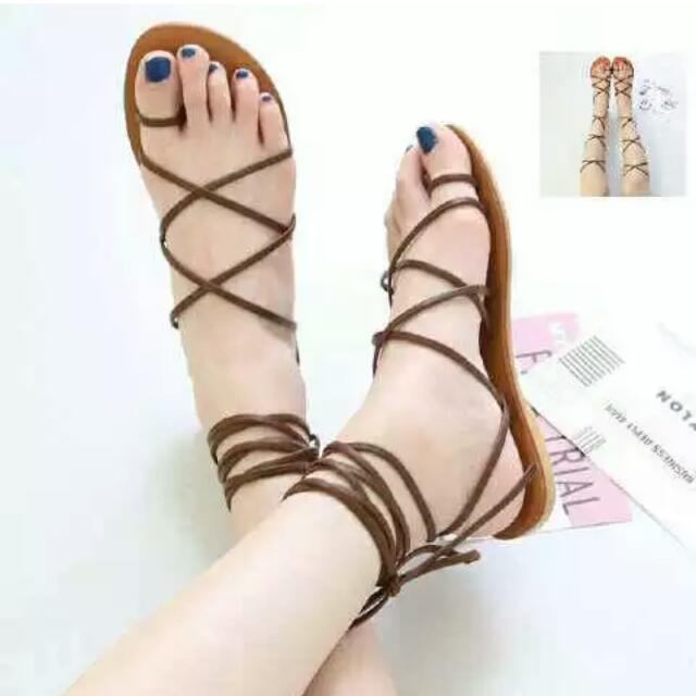 Sandal Lace Up Warna Coklat