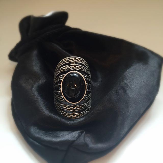 Silver Black Gem Ring