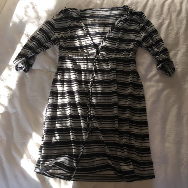 Striped Hooded Beach Cover-Up