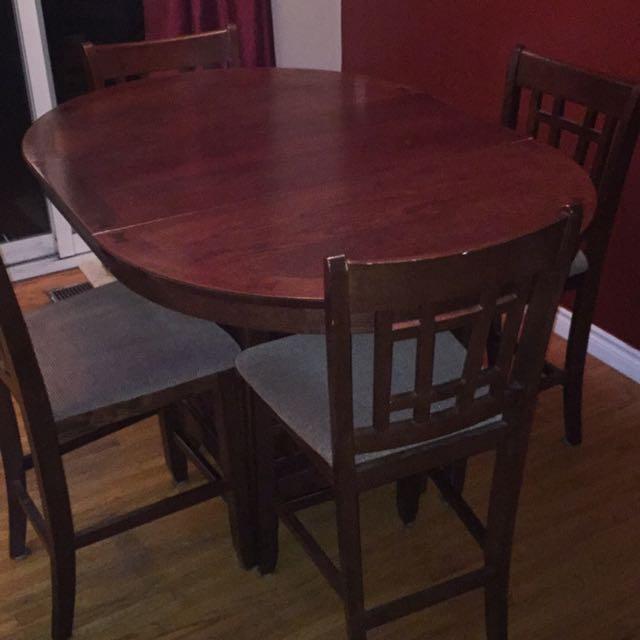 Tall Wooden Table. Dark Cherry Finish