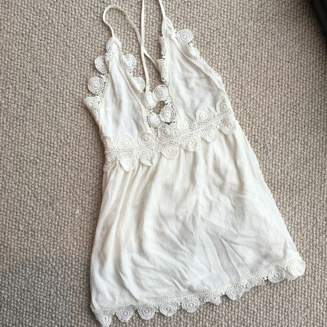 White Low/Cross Back Summer Dress Size 8
