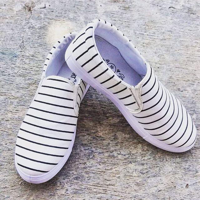 White Stripe Slip On
