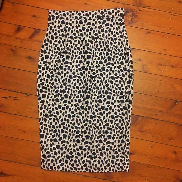 Women's High Waist Leopard Print Skirt Size 10
