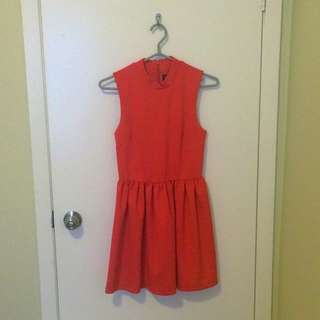 Topshop Dress In Orange/Red- Size US 4