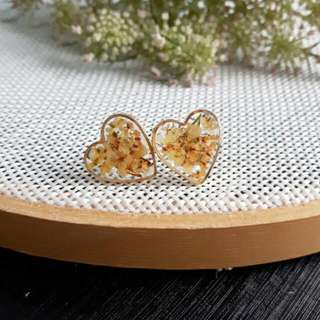 Yellow Real Dried Flowers Heart Shape Stud Earrings