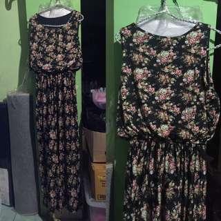 Long Dress Floral Spandex