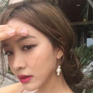 🚚 日系甜美優雅復古大小珍珠豎棍耳鉤耳環飾品