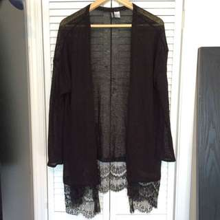 H&M Black Lace Long Cardigan Size M