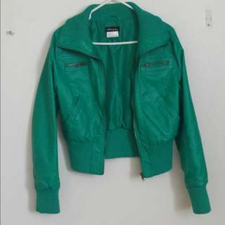 🔴Green Leather Jacket