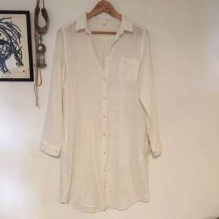 Muji White Linen Shirt Dress