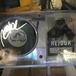 Milan Hejduk Autographed Puck And Limited Edition Autographed Card