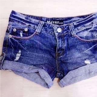 刷破反摺牛仔短褲