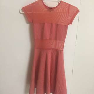 Salmon Pink Mesh Dress