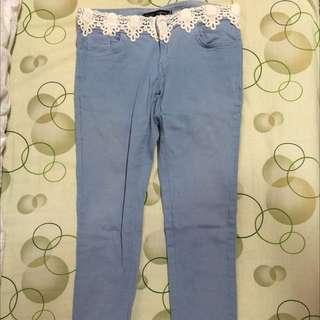 正韓蕾絲褲頭珍珠褲管褲