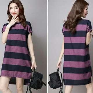 HQ 14546 Big Stripe Irregular Dress (PURPLE)