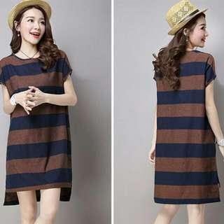 HQ 14546 Big Stripe Irregular Dress (BROWN)