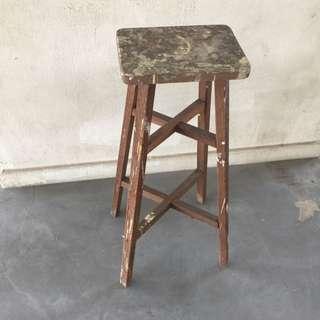 80s Wooden High Stool